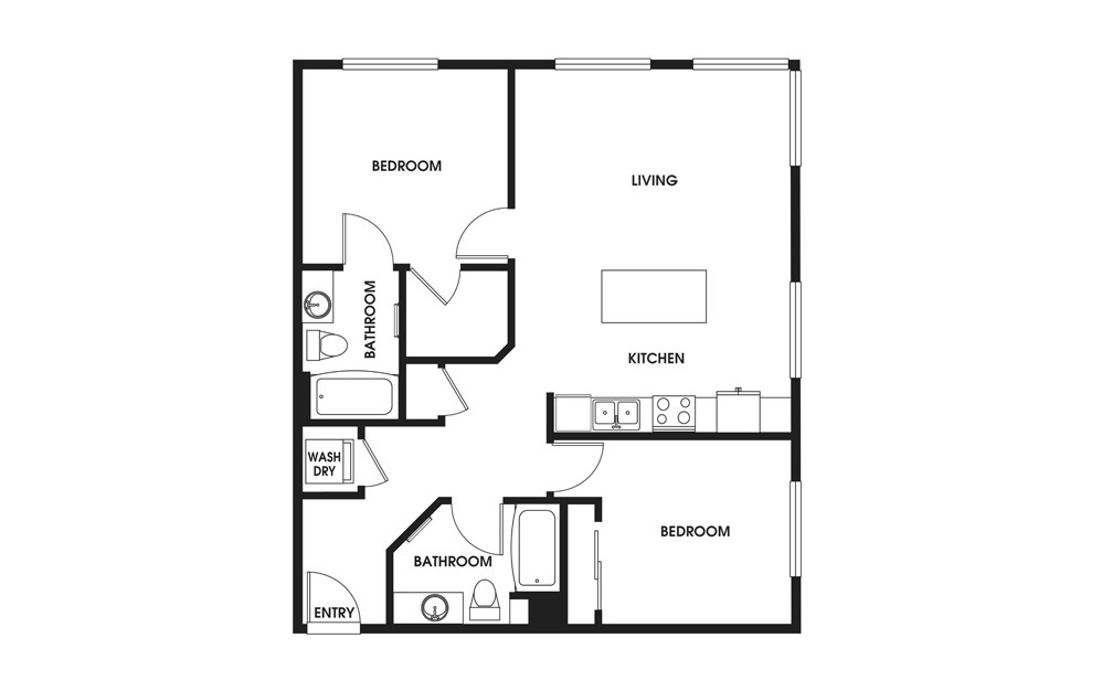 Two Bedroom - 2 bedroom floorplan layout with 2 baths and 1083 square feet.