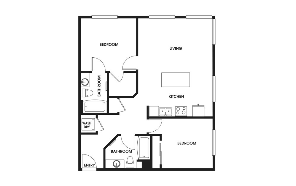 Two Bedroom - 2 bedroom floorplan layout with 2 baths and 957 square feet.