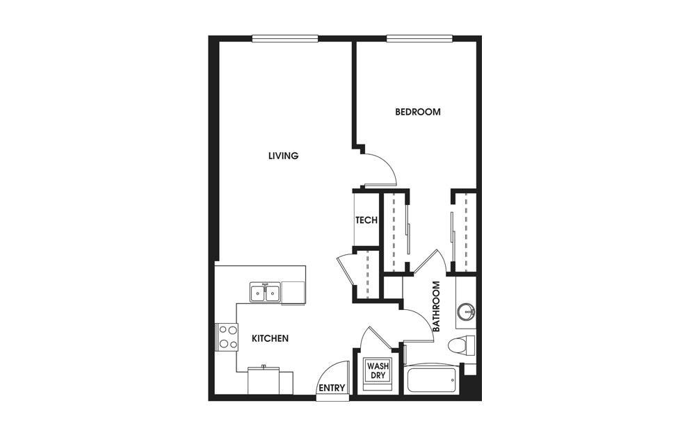 One Bedroom  - 1 bedroom floorplan layout with 1 bath and 768 square feet.