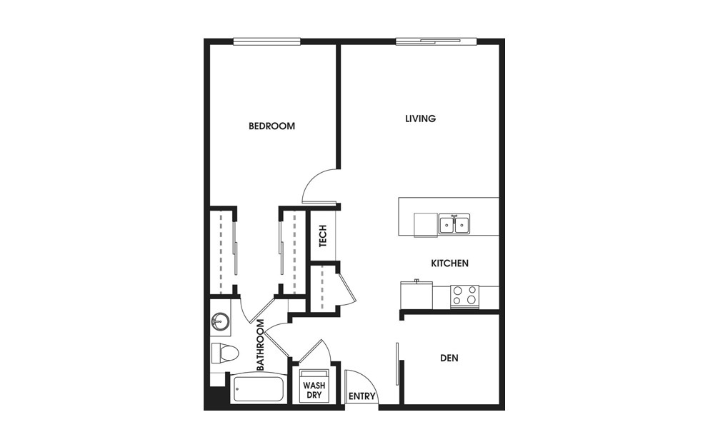 One Bedroom + Den - 1 bedroom floorplan layout with 1 bath and 853 square feet.