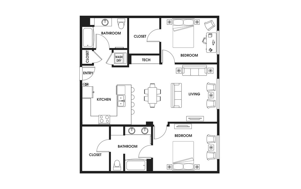 Two Bedroom - 2 bedroom floorplan layout with 2 baths and 1149 square feet.